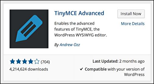 tinymce advanced wordpress plugin information panel
