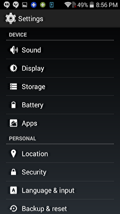 settings screen, android phone smartphone cellphone htc samsung