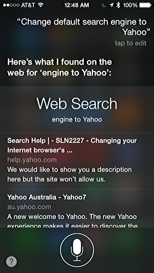 change default search engine to yahoo, siri