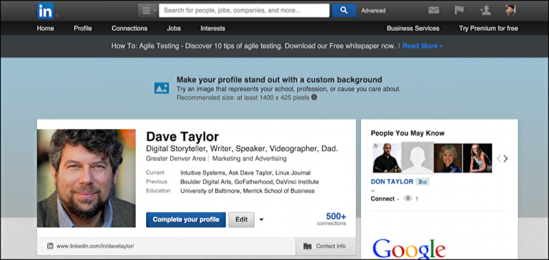 Can I customize my LinkedIn Profile appearance? - Ask Dave Taylor