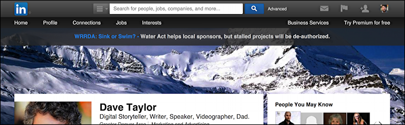 dave taylor linkedin profile with new custom matterhorn profile background wallpaper