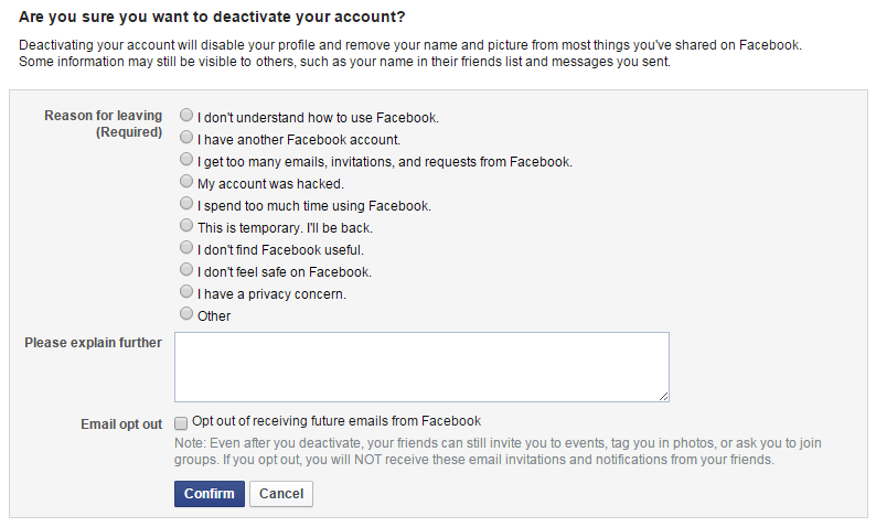 How do i quit facebook and deactivate my account ask dave taylor why do you want to deactivate quit cancel leave facebook fb ccuart Image collections