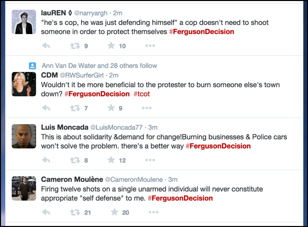 what people are saying on twitter about michael brown ferguson decision