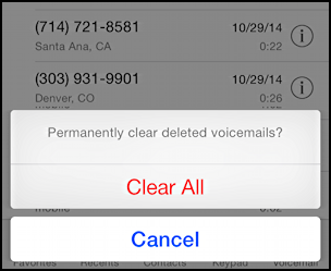 clear all deleted voice mail messages iphone