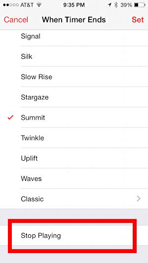 alarm option 'stop playing' ios iphone audiobook audio book