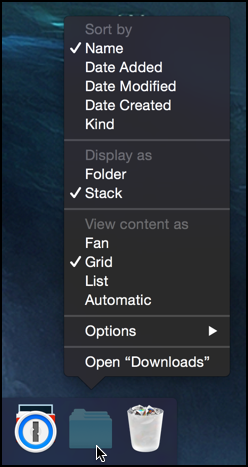 folder options in the mac os x 10.10 yosemite dock