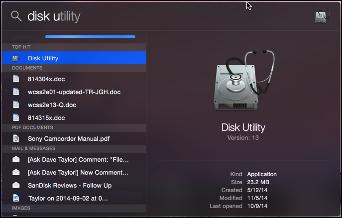mac os x yosemite 10.10 disk utility spotlight