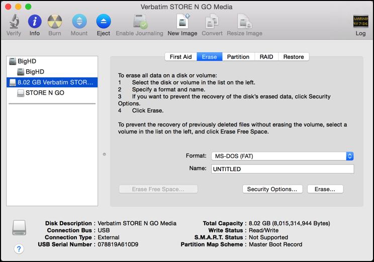 mac disk utility - time to erase a flash usb thumb drive