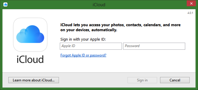 log in to your icloud account from win7 win8 win10