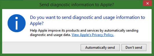 do you want to send Apple diagnostic data?