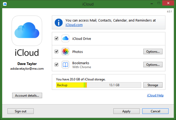 icloud for windows settings and preferences