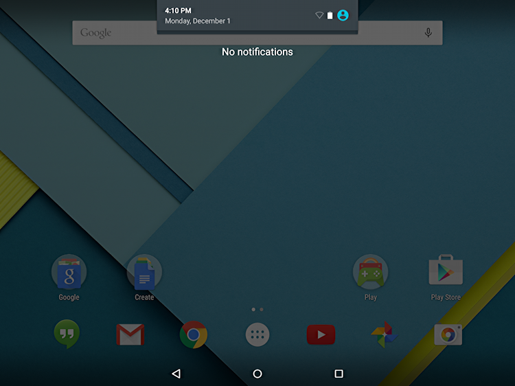 android 5.0 notifications window