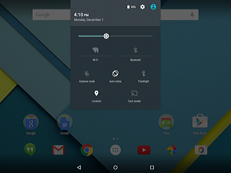android lollipop notification and settings window overlay