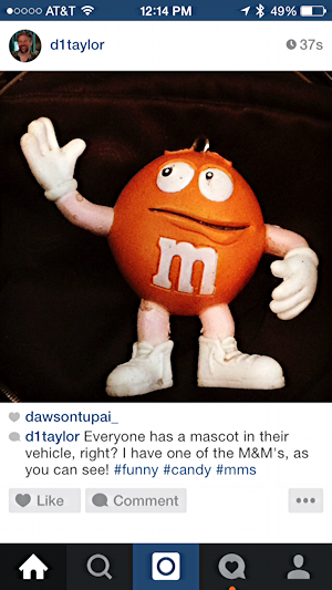instagram post of orange M&M's guy toy all fixed up no typos