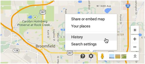 gear menu settings google maps