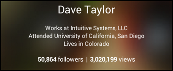 google plus profile showing followers and views count popularity stats analytics