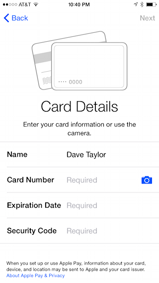ready to scan in a debit card or credit card for apple paly