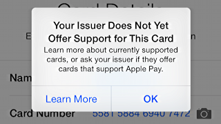 your issuer does not yet offer support for this card