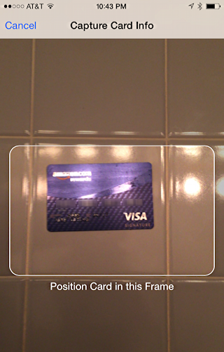 iphone scanning credit card to add to applepay