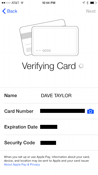 verifying debit card