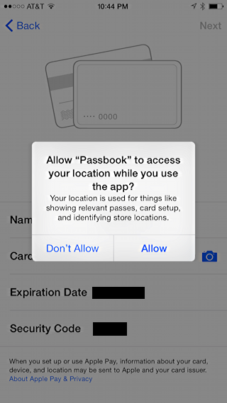 can passbook use your location? apple iphone 6 plus