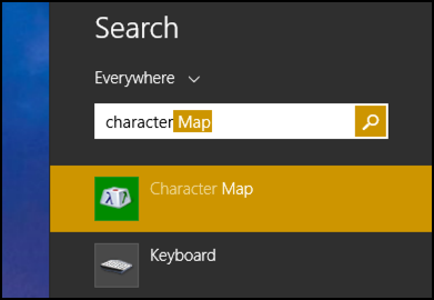 search for character map