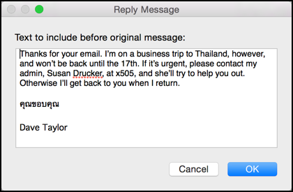 Right Choice Auto >> How to set up a vacation autoresponder in Apple Mail