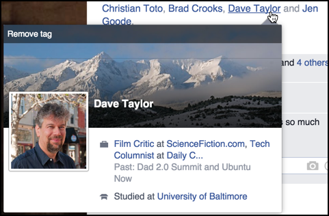 facebook pop-up info window user profile dave taylor