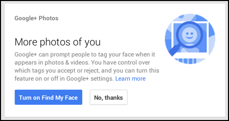 Google Plus can tag photos of you! do you want to enable it?