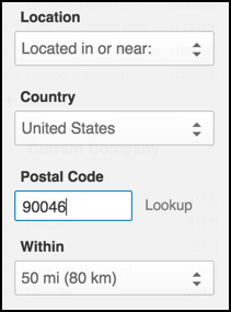 enter postal code zipcode zip code and you can specify how close