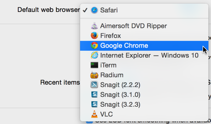 choices for default web browser, mac os x 10.10