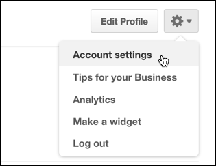 pinterest account settings menu