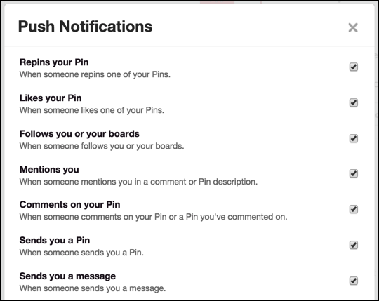 pinterest mobile smartphone push notification settings preferences