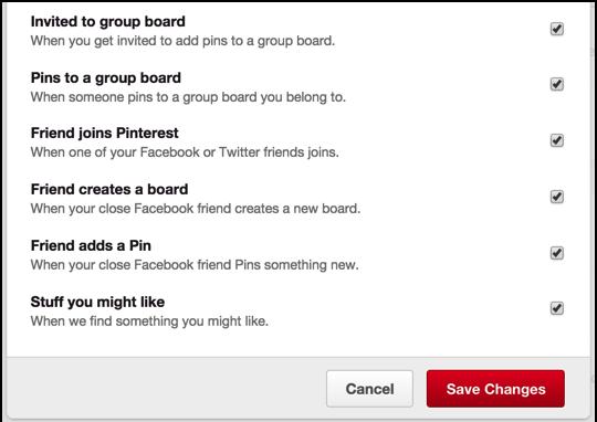 pinterest push notification customization preferences settings tweaks