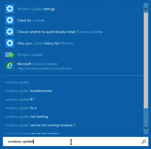 search results windows update in win10
