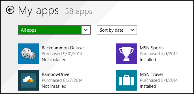 all apps installed through the microsoft windows live app store xbox