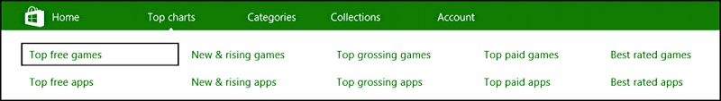 """Popular Titles"" option on nav menu bar microsoft windows store"
