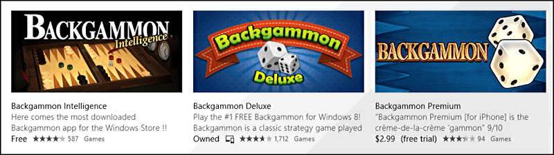 a few of the backgammon games available for win8 windows pc computer