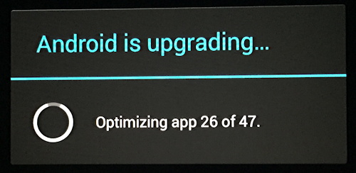 android is upgrading apps progress window