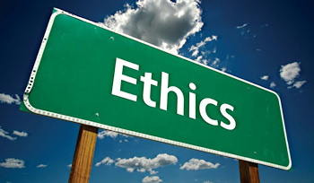 ethics sign against a blue sky