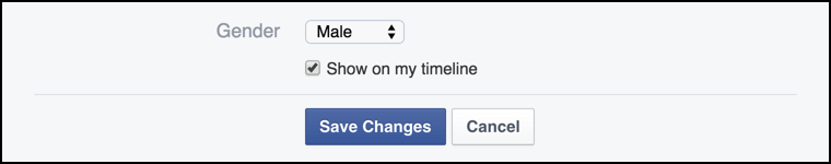 current gender settings: male / female on facebook