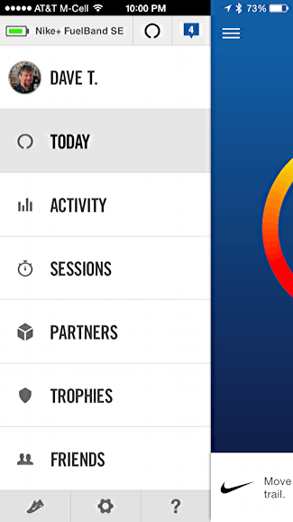 settings, preferences, options in nike fuel iphone android app