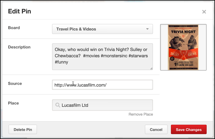 edit a pinterest pin to add a url target web page or website