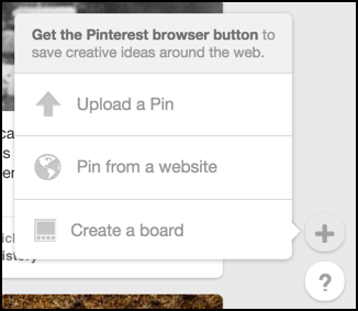 upload a photo or pin from a website in pinterest