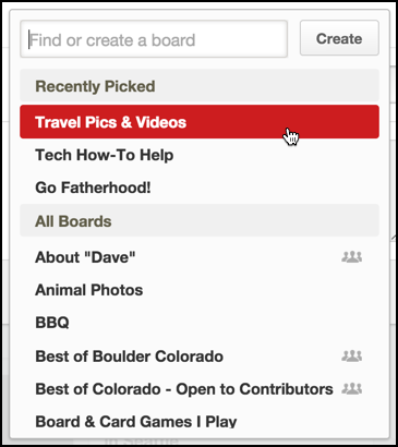 pick a board pinboard keywords category