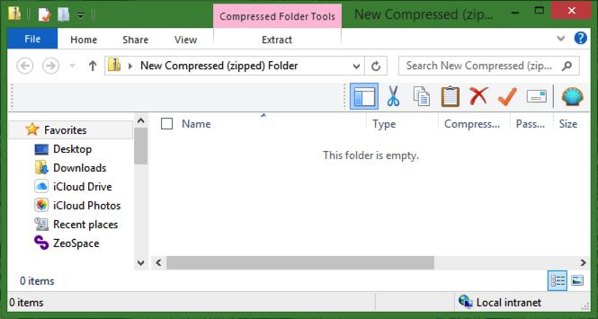 compressed (zipped) zip folder open view win8