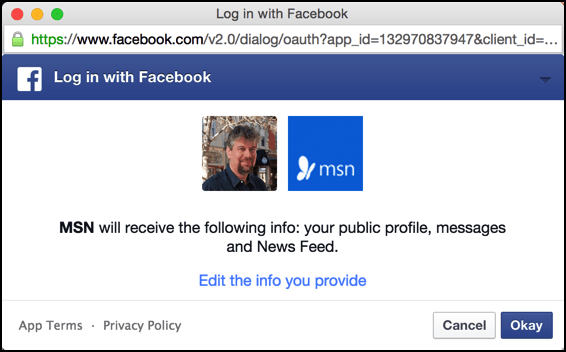 permission sought requested facebook msn.com