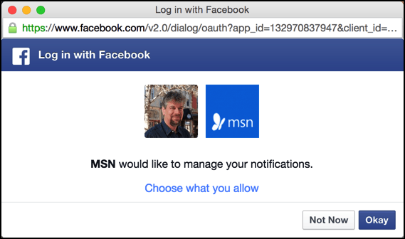 msn.com manage facebook notifications