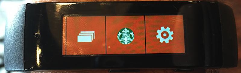 Starbucks app tile on Microsoft MSFT sports fitness band