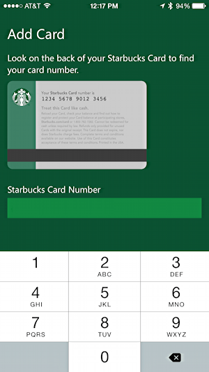 enter starbucks card into microsoft band health app